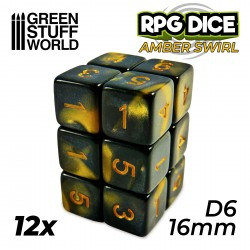 12x D6 16mm Dice - Amber Swirl