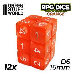 12x D6 16mm Dés de Jeu - Orange