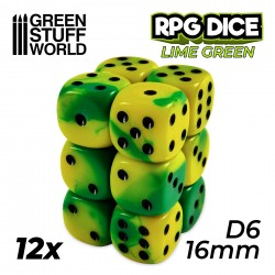 12x D6 16mm Dice - Lime Marble
