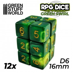 12x Dados D6 16mm - Verde Marmol