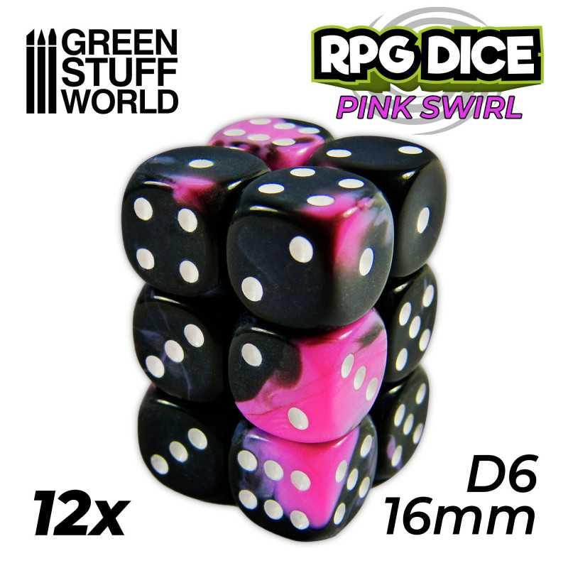 12x Dados D6 16mm - Rosa Marmol