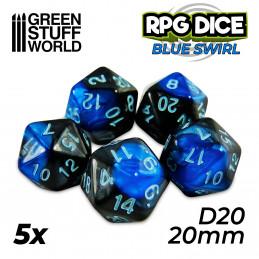 5x D20 20mm Dés de Jeu - Bleu Marbre