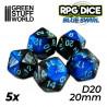 5x W20 20mm Spielwürfel - Blau Marmor