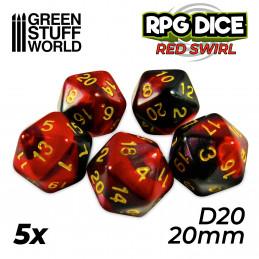 5x W20 20mm Spielwürfel - Rot Marmor