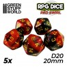 5x D20 20mm Dice - Red Swirl