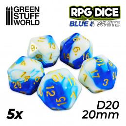 5x D20 20mm Dés de Jeu - Bleu Blanc