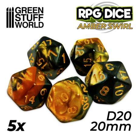5x D20 20mm Dice - Amber Swirl