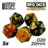 5x W20 20mm Spielwürfel - Bernstein Marmor