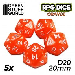 5x D20 20mm Dés de Jeu - Orange
