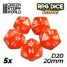 5x Dados D20 20mm - Naranja