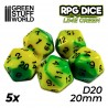 5x D20 20mm Dice - Lime Swirl