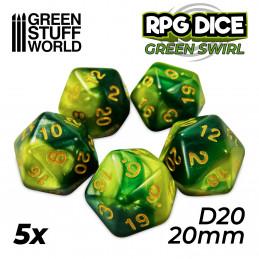 5x W20 20mm Spielwürfel - Grun Marmor
