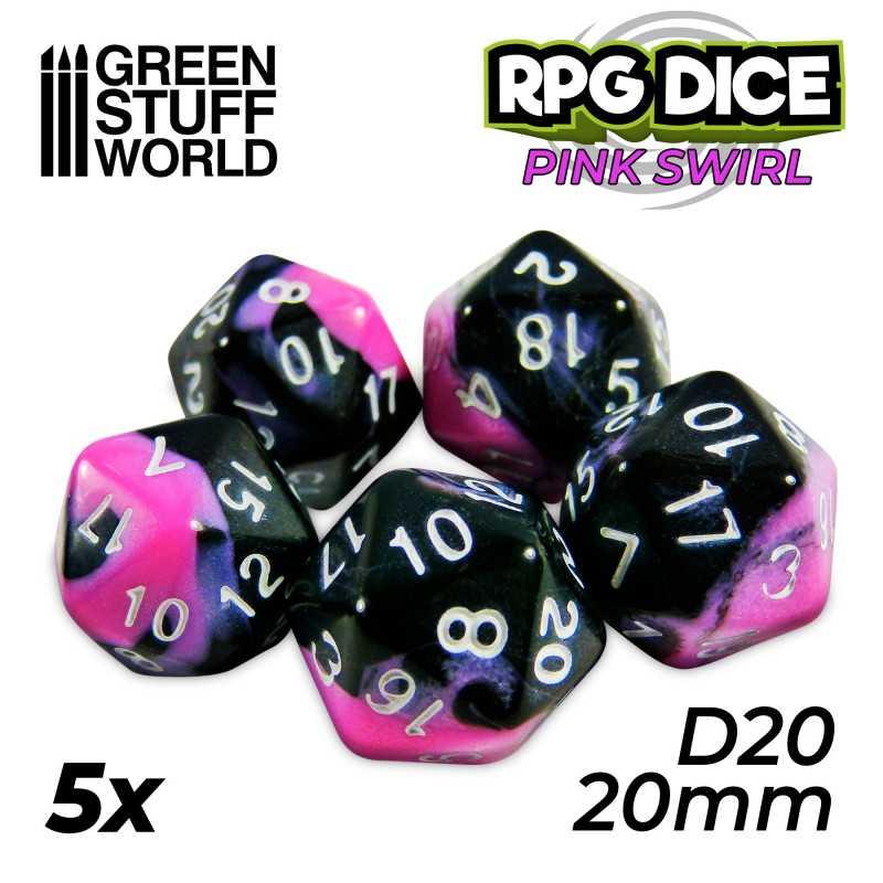 5x Dados D20 20mm - Rosa Marmol