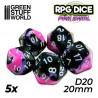 5x D20 20mm Dice - Pink Swirl