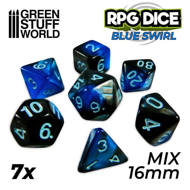 7x Dados Mix 16mm - Azul Marmol