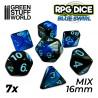7x Mix 16mm Spielwürfel - Blau Marmor
