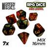 7x Mix 16mm Dice - Red Swirl