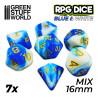 7x Mix 16mm Dés de Jeu - Bleu Blanc