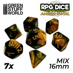 7x Mix 16mm Dice - Amber Swirl