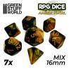 7x Mix 16mm Dés de Jeu - Ambre Marbre