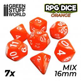 7x Mix 16mm Dés de Jeu - Orange