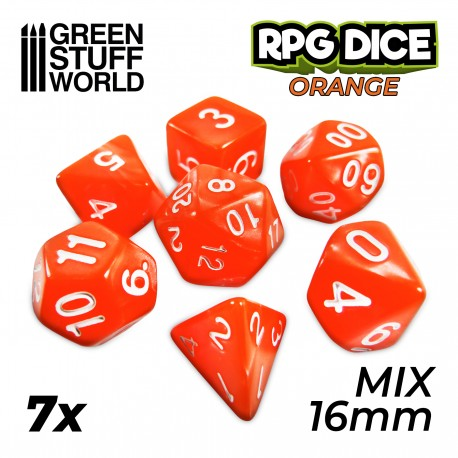 7x Mix 16mm Dice - Orange