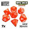 7x Mix 16mm Spielwürfel - Orange