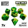 7x Mix 16mm Spielwürfel - Lime Marmor