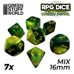 7x Mix 16mm Dice - Green Swirl