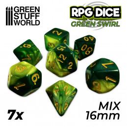 7x Mix 16mm Spielwürfel - Grun Marmor