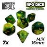 7x Mix 16mm Dés de Jeu - Vert Marbre