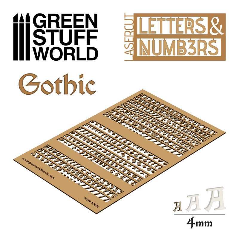 Lettres et nombres 4 mm GOTHIQUE