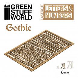 Buchstaben und Zahlen 6 mm GOTISCH