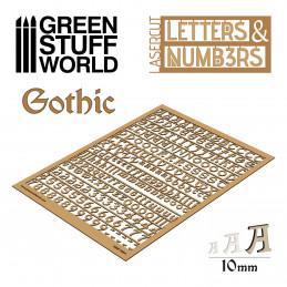 Letras y números 10 mm GOTICOS