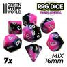 7x Mix 16mm Dés de Jeu - Rose Marbre