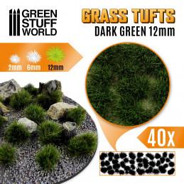 Grass TUFTS - 12mm self-adhesive - DARK GREEN