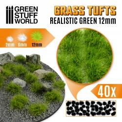 Grass TUFTS - 12mm self-adhesive - REALISTIC GREEN
