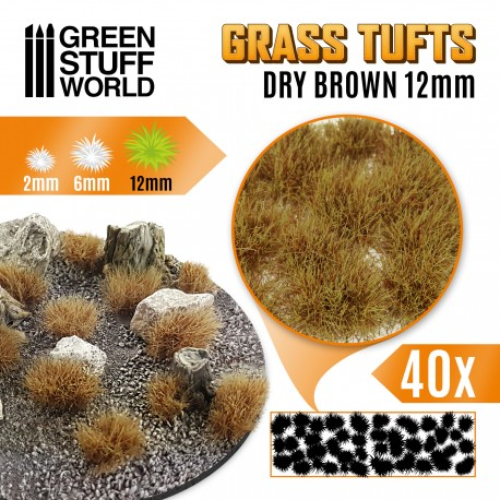 Grass TUFTS - 12mm self-adhesive - DRY BROWN