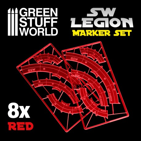 Legion arc-shaped line of fire markers - RED