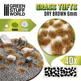 Grasbüscheln - Selbstklebend - 6mm - Getrocknet Braun