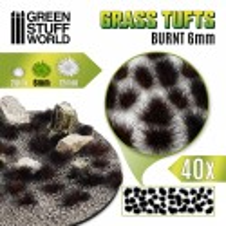 Touffes d'herbe - 6mm - Auto-Adhésif - BRÛLÉ