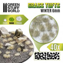 Touffes d'herbe - 6mm - Auto-Adhésif - BLANC HIVER