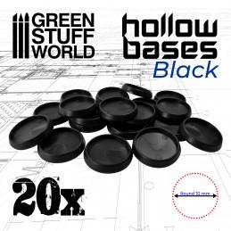 Runde Kunststoffbasen mit Lücke - Schwarz 32mm