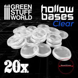 Hollow Plastic Bases - TRANSPARENT 32mm