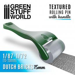 Strukturierte Walze mit Griff - Holländische ZIEGEL 15mm