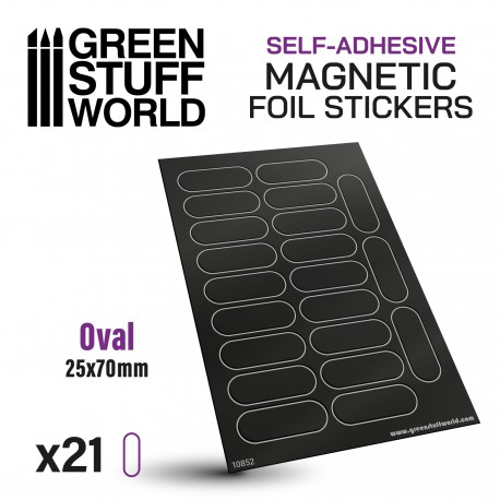Oval Magnetic Sheet SELF-ADHESIVE - 25x70mm