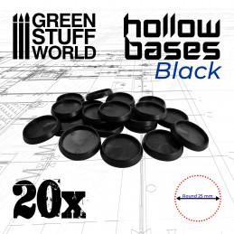 Socles en plastique noir avec CREUX 25mm