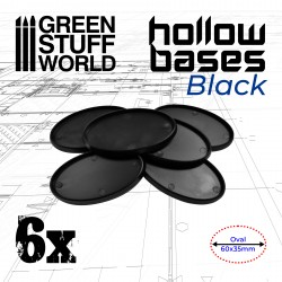 Ovale Kunststoffbasen mit Lücke - Schwarz Oval 60x35mm