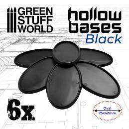Ovale Kunststoffbasen mit Lücke - Schwarz Oval 75x42mm