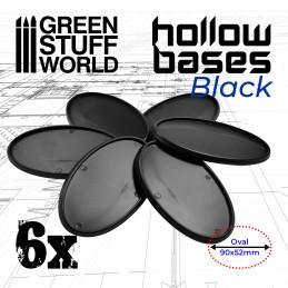 Ovale socles en plastique noir avec CREUX Oval 90x52mm